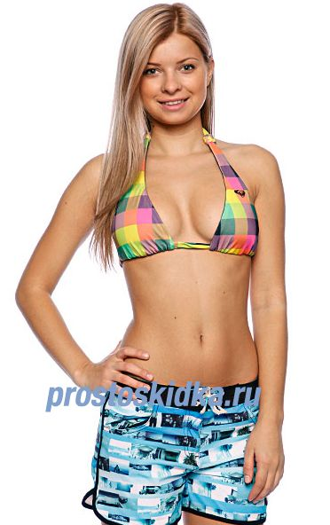 Бюстгальтер женский Roxy Multico Newport Bali Halter Rb Black Small Multi