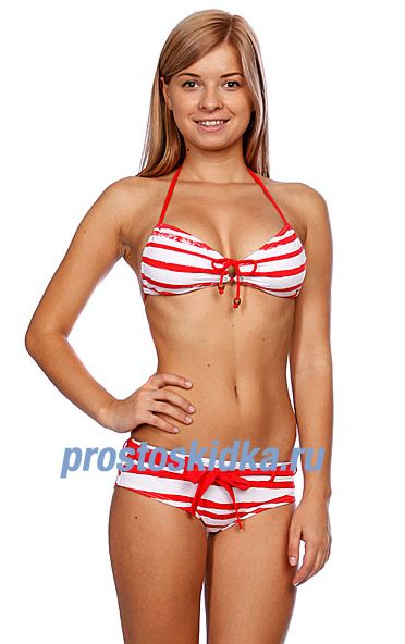 Купальник женский Quiksilver Sail Stripes Baja Shorty Crimson Sail St