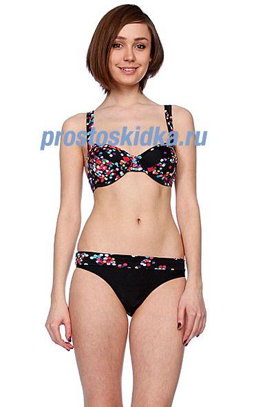 Купальник женский Roxy Blur Dots Roll Top Brief Black Blur Dots
