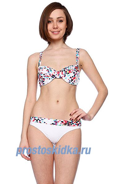 Купальник женский Roxy Blur Dots Roll Top Brief White Blur Dots