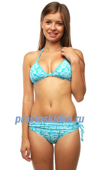 Купальник женский Roxy Green Tree Roll Top Brief Turquoise