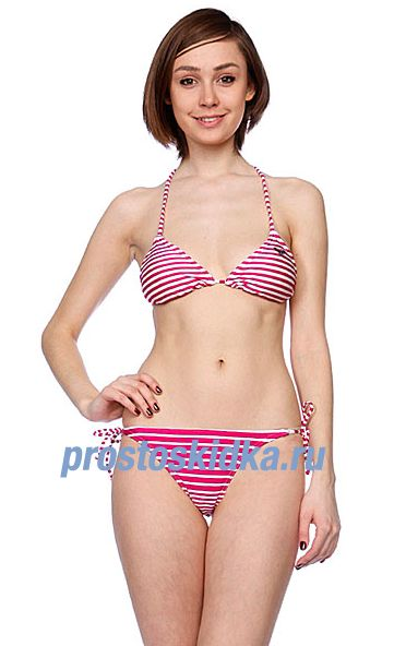 Купальник женский Roxy Logo Stripes Bikini Tie Sides Log Stripe