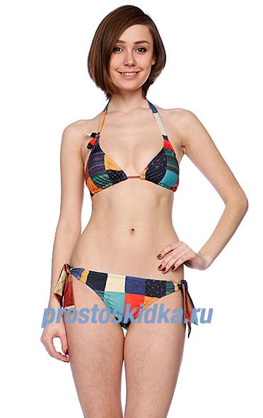 Купальник женский Roxy Peace Love Surf Retro Tie Side Multicolor