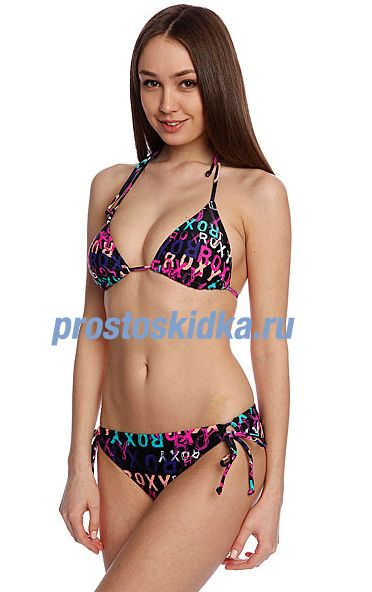 Купальник женский Roxy Tiki Tri 70S Lowrider Tie Side True Black