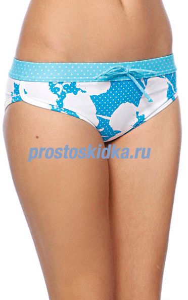 Плавки женские Roxy New Abstract Flower Retro Shorty Tropic Blue