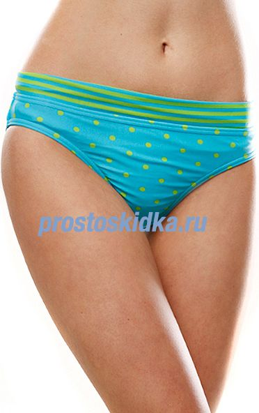 Плавки женские Roxy Rock Steady Roll Top Brief Blue/Green